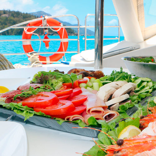 Lunch aboard a bareboat in the Whitsunday Islands