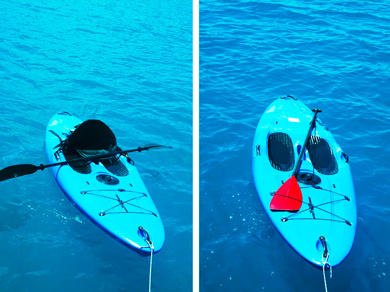 Dual-purpose stand up paddleboard converts into a kayak