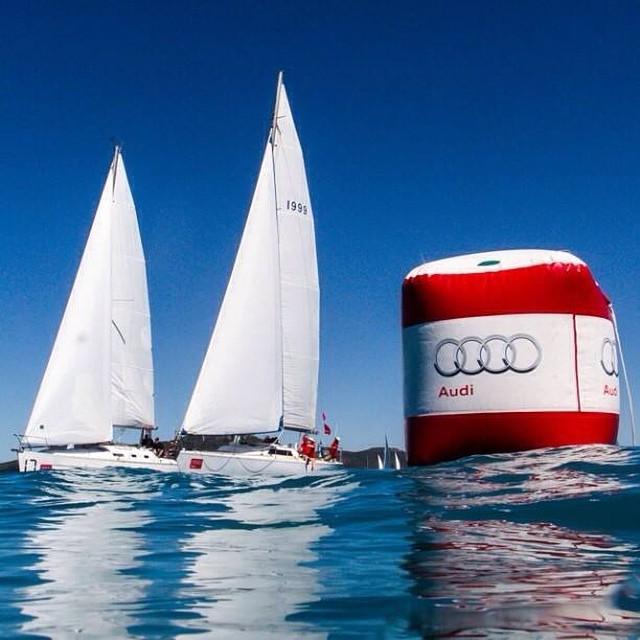 Boats in a close race at Audi Hamilton Island Race Week
