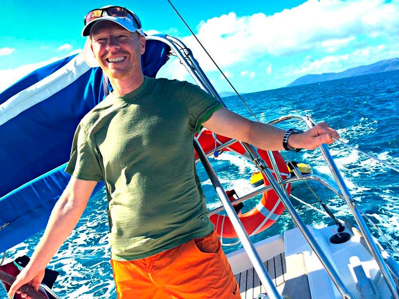 Sailing a bareboat is easy. Man a the helm of a Yacht