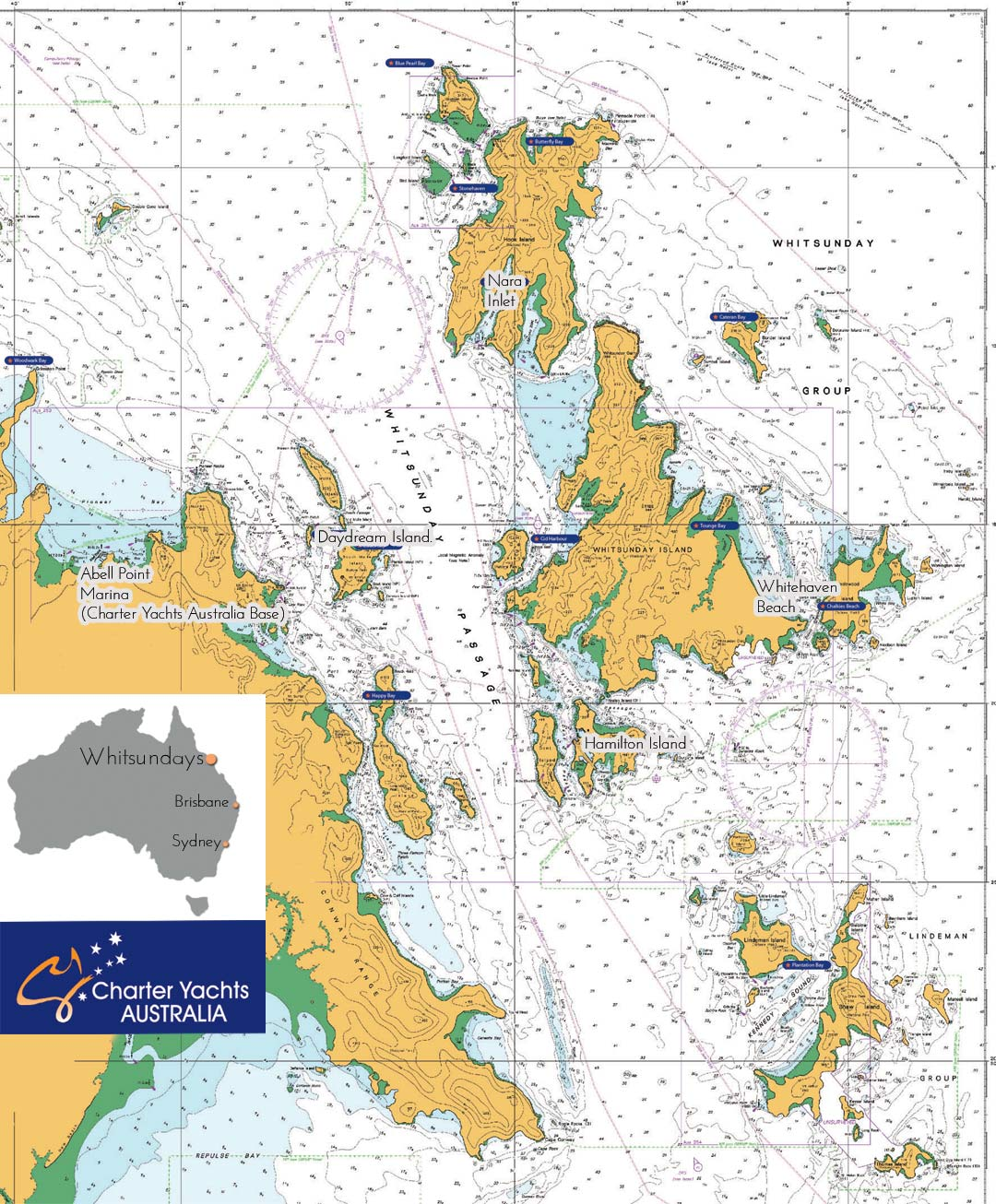 whitsunday sailing map