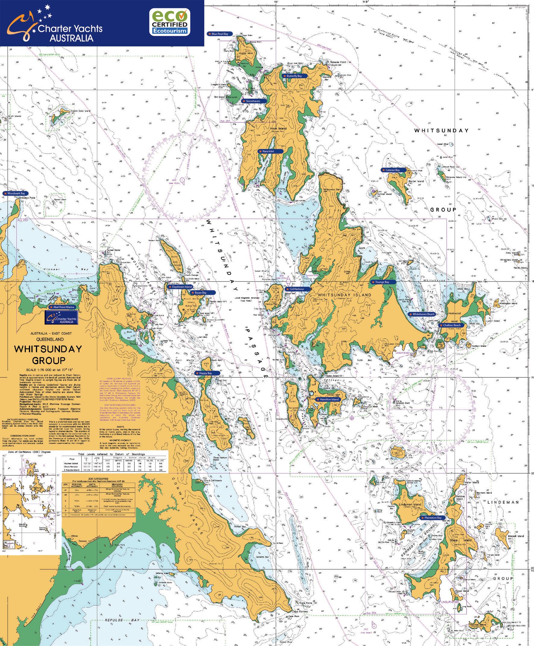Whitsunday Islands Map Whitsunday Islands Map | Charter Yachts Australia