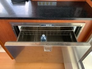 Galley Fridge Drawer open with water bottle