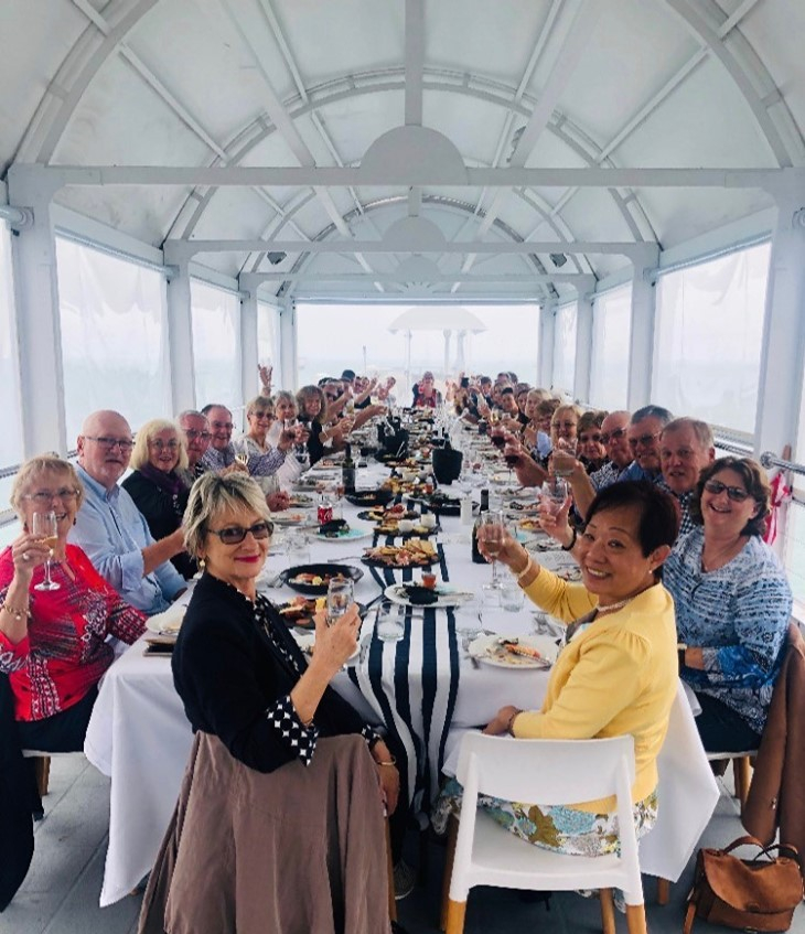 Guests enjoying the 'Long Lunch' on the jetty at Coral Sea Resort